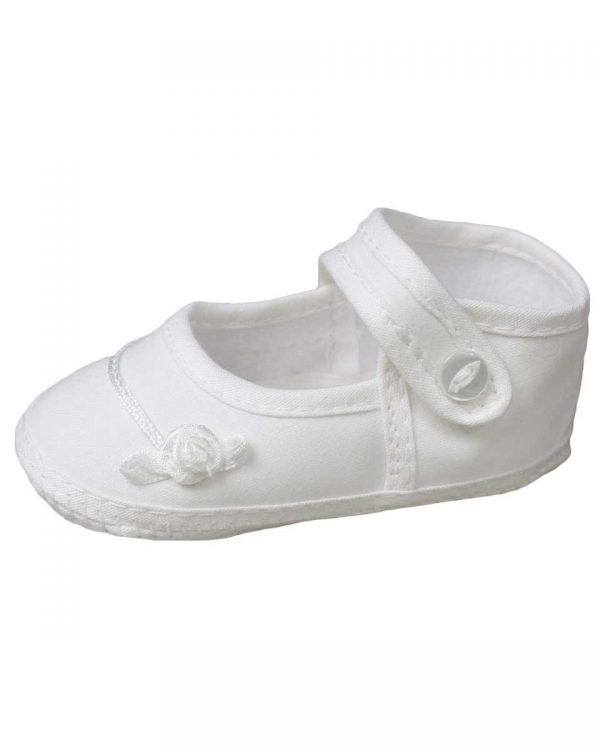 Girls Cotton Shoe with Embroidered Rosebud - Little Things Mean a Lot