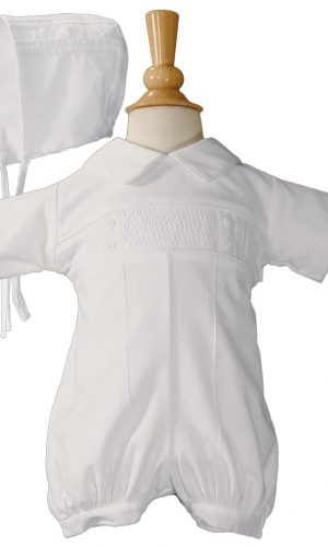 Baby Boys White Cotton Smocked Baptism Outfit Set - Little Things Mean a Lot