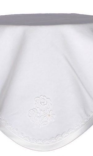 Cotton Christening Blanket with Lace and Flower Applique