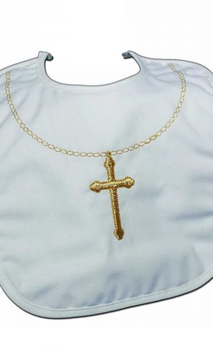 Cotton Christening Bib with Fancy Embroidered Gold Cross & Chain - Little Things Mean a Lot