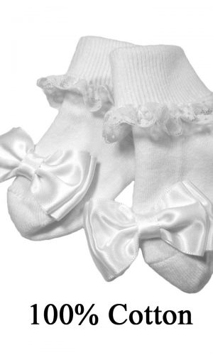 Girls Cotton Special Occasion Socks with Lace and Bow - Little Things Mean a Lot
