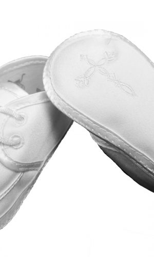 Boys Satin Shoe with Embroidered Celtic Cross - Little Things Mean a Lot