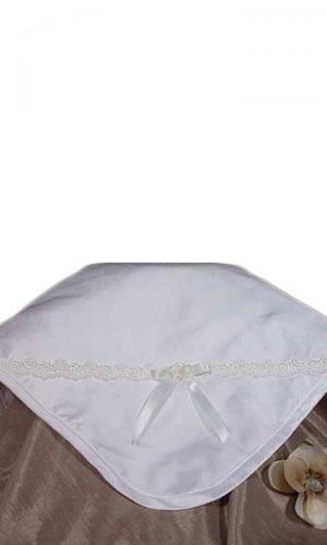 Silk Dupioni Blanket with Venise Trim and Bow - Little Things Mean a Lot