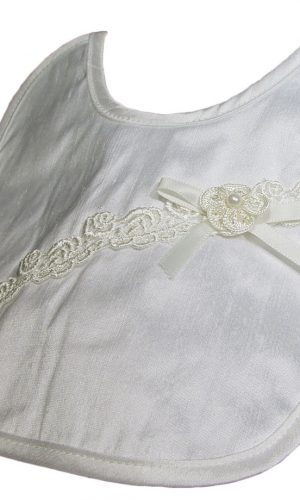 Silk Dupioni Bib with Flower - Little Things Mean a Lot