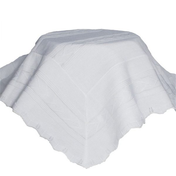 White Knit Baby Baptism Shawl - Little Things Mean a Lot