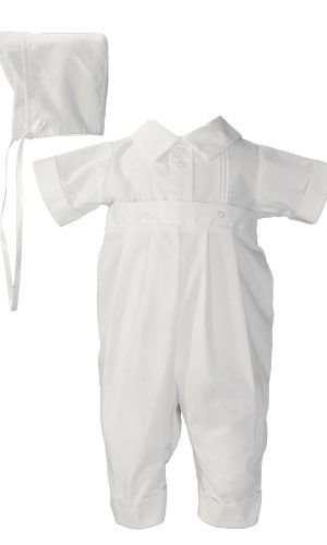 Boys Poly Cotton One Piece Christening Baptism Coverall with Pin Tucking - Little Things Mean a Lot