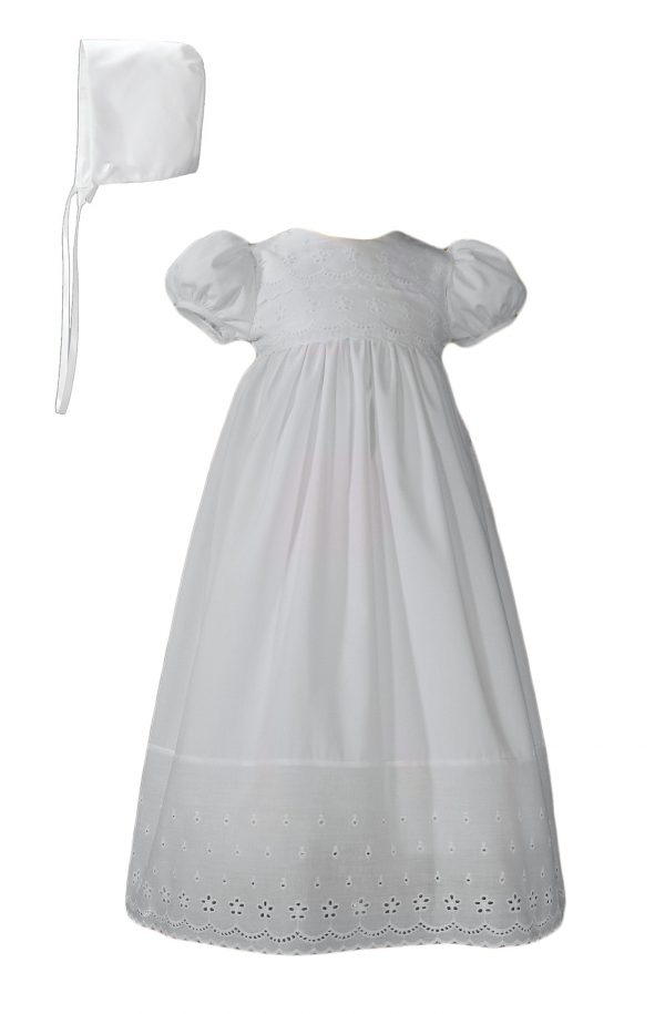 Girls White Poly Cotton Christening Baptism Gown with Lace Border and Bonnet