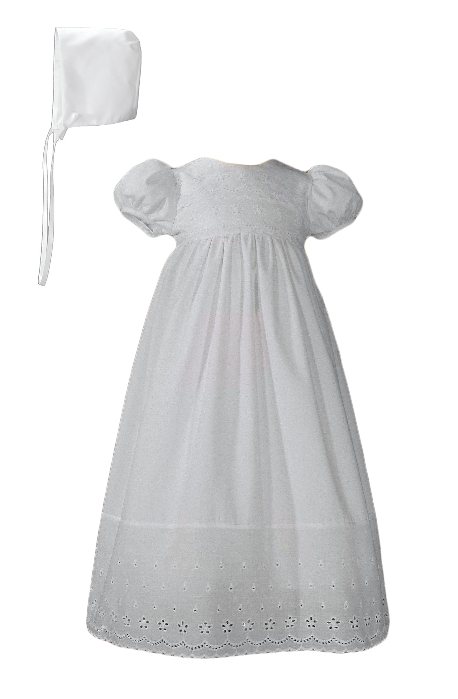 Girls White Cotton Christening Baptism Gown with Lace Border and ...
