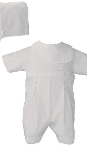 Boys White Polycotton Christening Baptism Romper with Screened Cross - Little Things Mean a Lot
