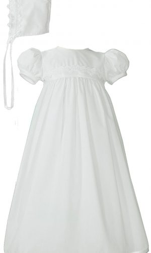Girls White Polycotton Christening Baptism Gown with Lace Trim & Bonnet - Little Things Mean a Lot