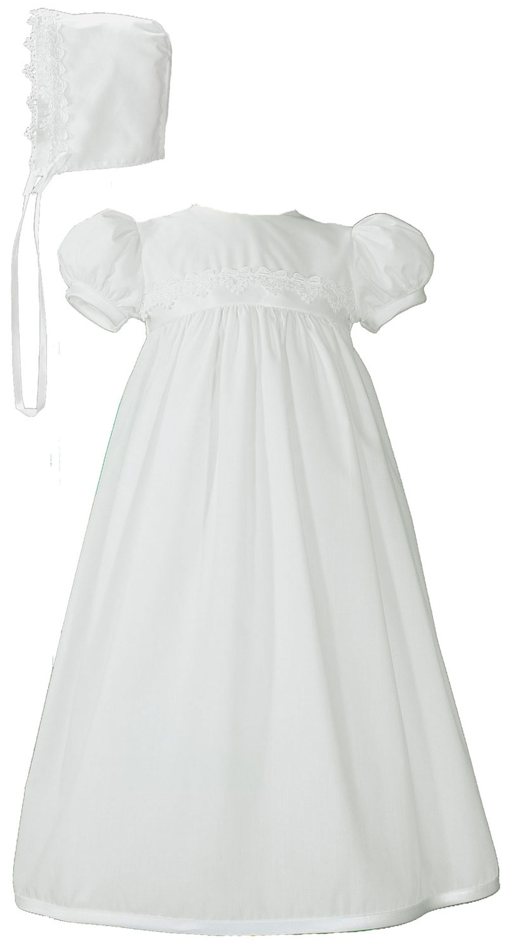 Girls White Polycotton Christening Baptism Gown with Lace Trim ...