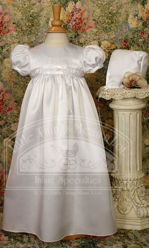 "Girls 24"" White Satin Christening Baptism Gown with Rosette Trim and Bonnet"