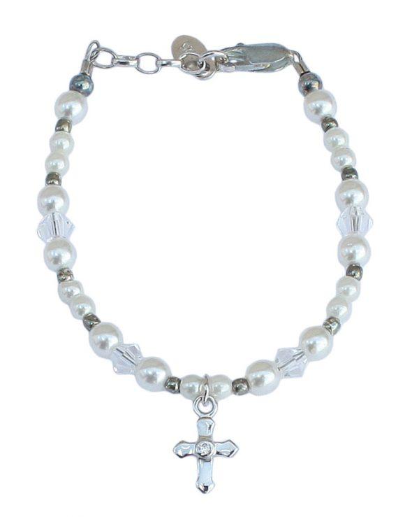 White Pearl Crystal Cross Girls Bracelet - Little Things Mean a Lot