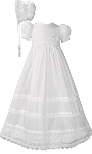 Girls Cotton Short Sleeve Dress Christening Baptism Gown with Lace and Ribbon - Little Things Mean a Lot