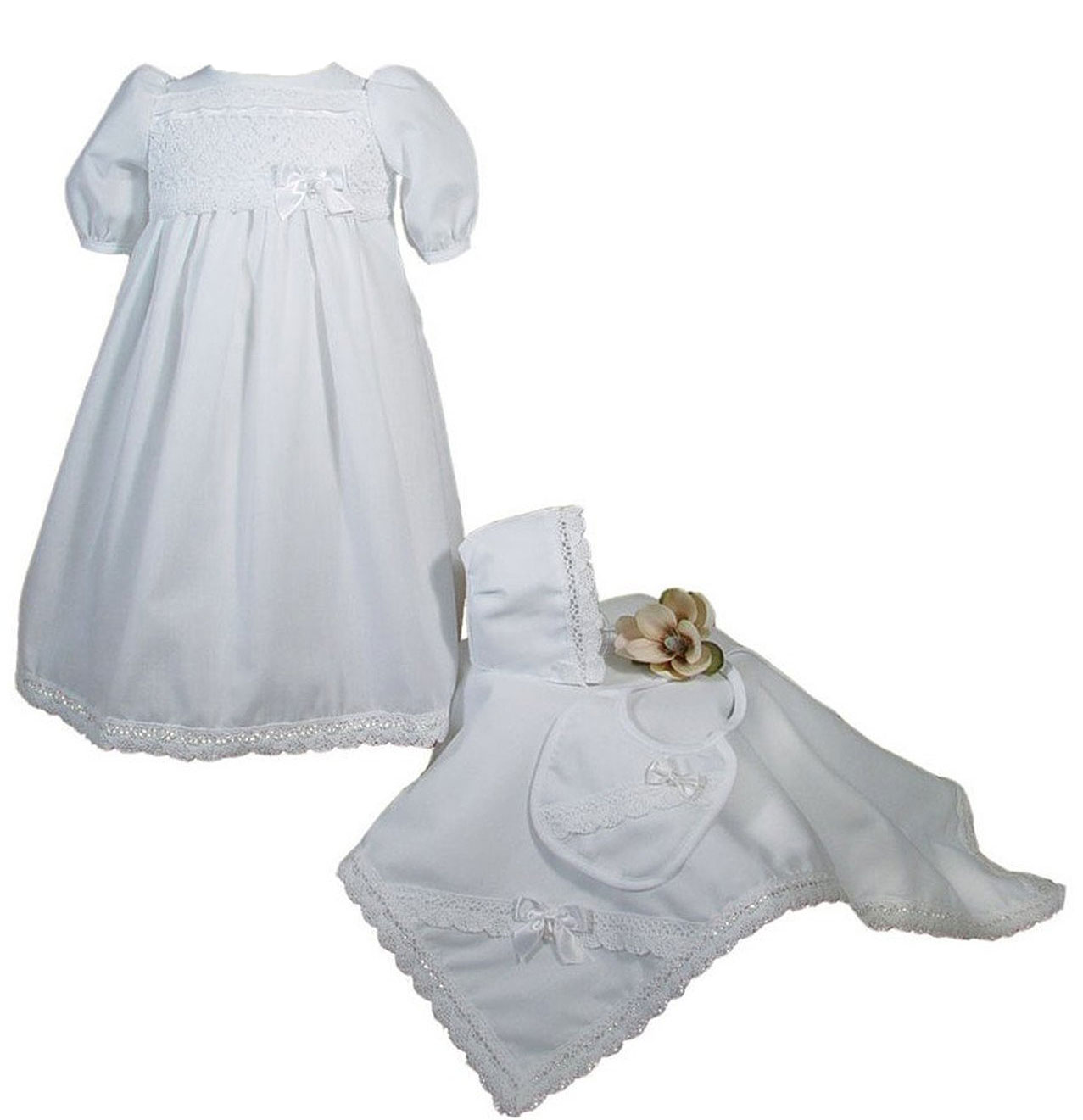 Girls Preemie Dress Christening Gown Baptism Set with Lace Hem ...