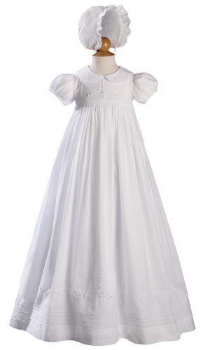 """Girls 33"""" Short Sleeve Gown with Hand Embroidery - Little Things Mean a Lot"""
