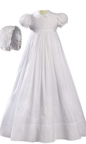 """Girls 32"""" White Cotton Short Sleeve Christening Baptism Gown with Floral Shamrock Embroidery - Little Things Mean a Lot"""