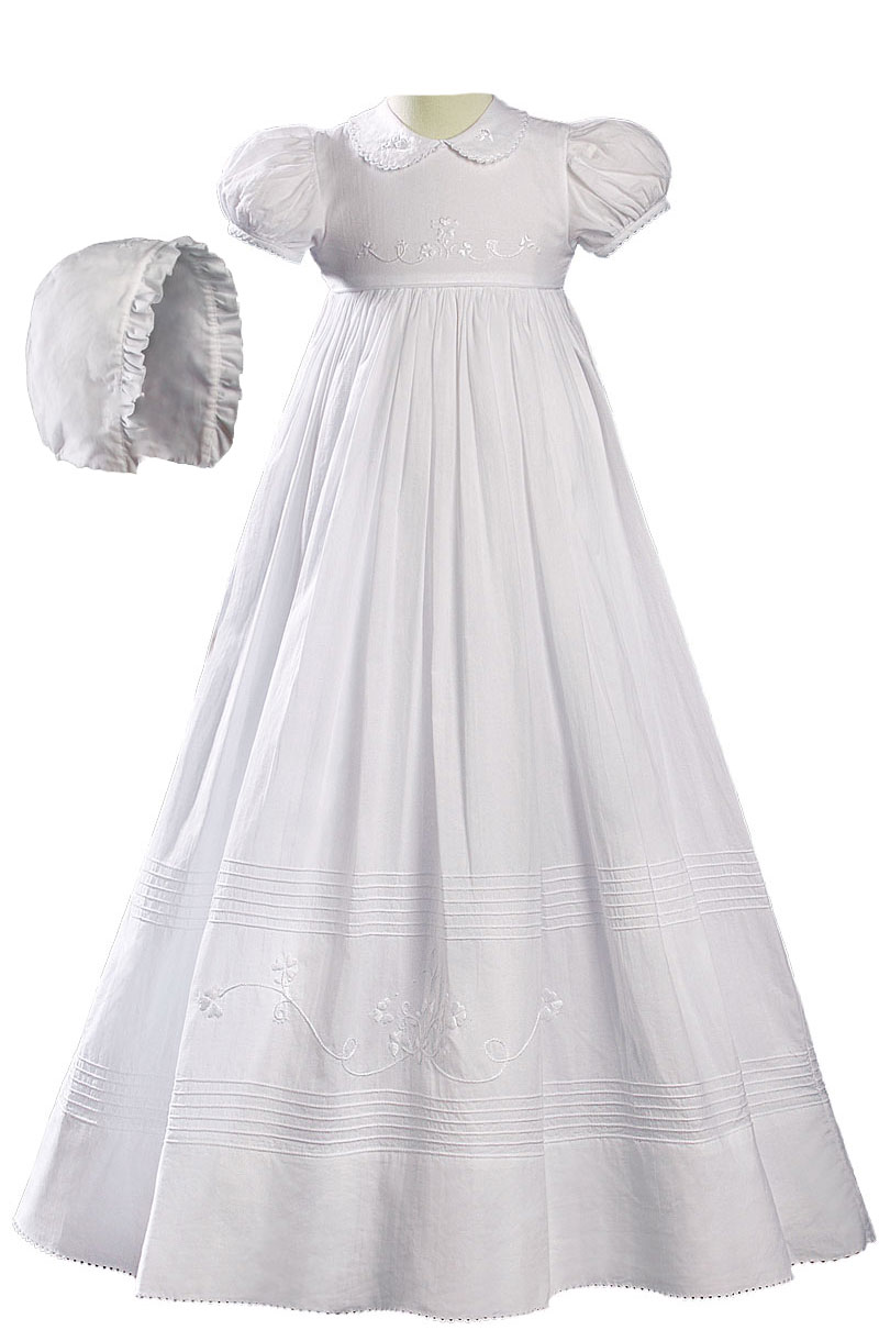"Girls 32"" White Cotton Short Sleeve Christening Baptism Gown with Floral Shamrock Embroidery"