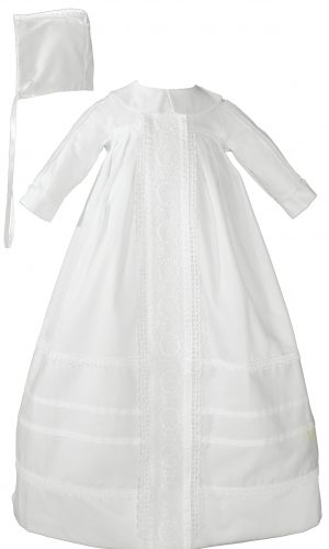 Cotton Sateen Bishop's Christening Baptism Gown and Bonnet - Little Things Mean a Lot