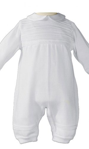 Boys Cotton Knit White Christening Baptism Coverall - Little Things Mean a Lot