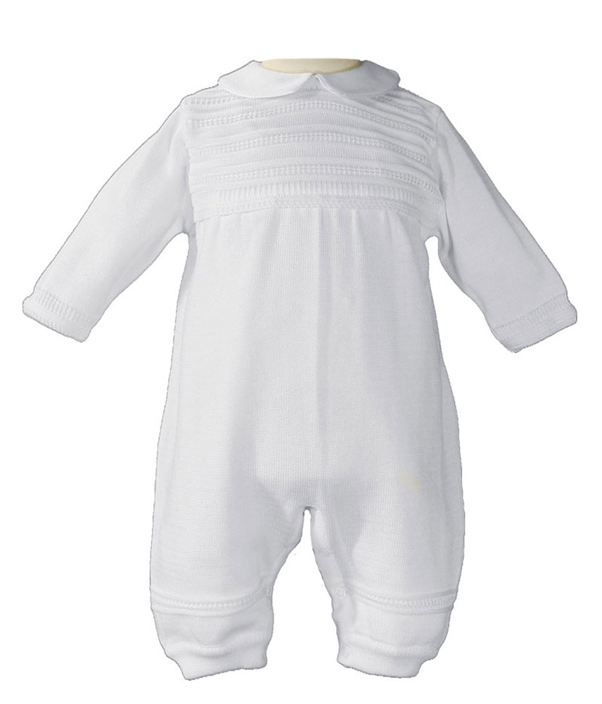44e3851aaeed Boys Cotton Knit White Christening Baptism Coverall - Little Things ...
