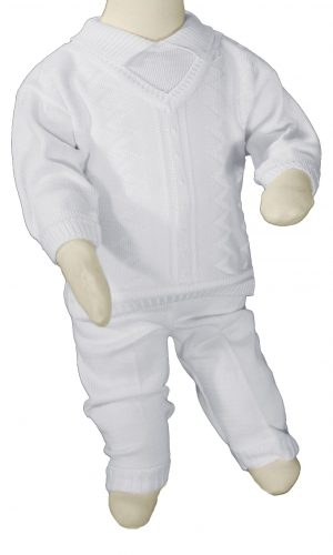 Boys 100% Cotton Knit Two Piece White Christening Baptism Outfit - Little Things Mean a Lot