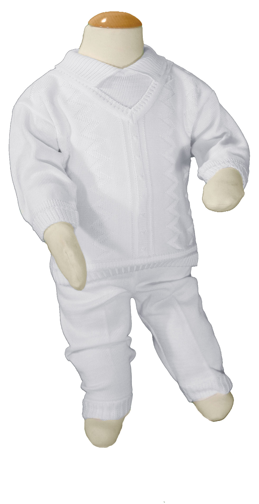 09b739223 Boys 100% Cotton Knit Two Piece White Christening Baptism Outfit ...