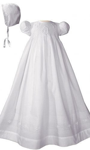 "Girls 32"" Cotton Hand Smocked Christening Gown Baptism Dress with Hand Embroidery"