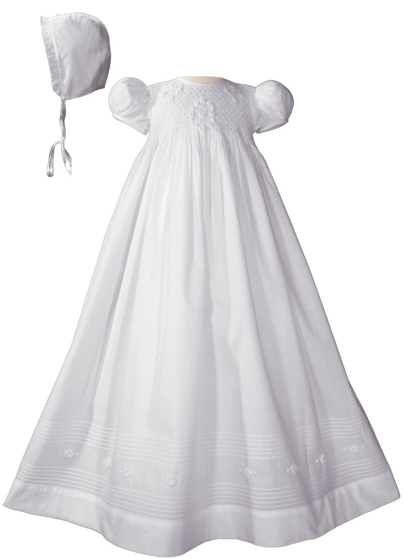 Girls 32 Quot Cotton Hand Smocked Christening Gown Baptism