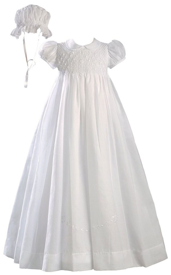 "Girls White 32"" Hand Smocked Polycotton Batiste Christening Baptism Gown"