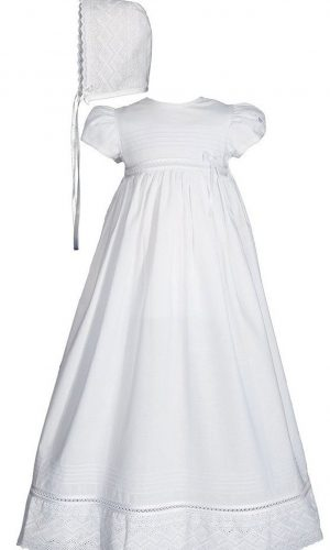 """Girls 30"""" White Cotton Dress Christening Gown Baptism Gown with Lace - Little Things Mean a Lot"""