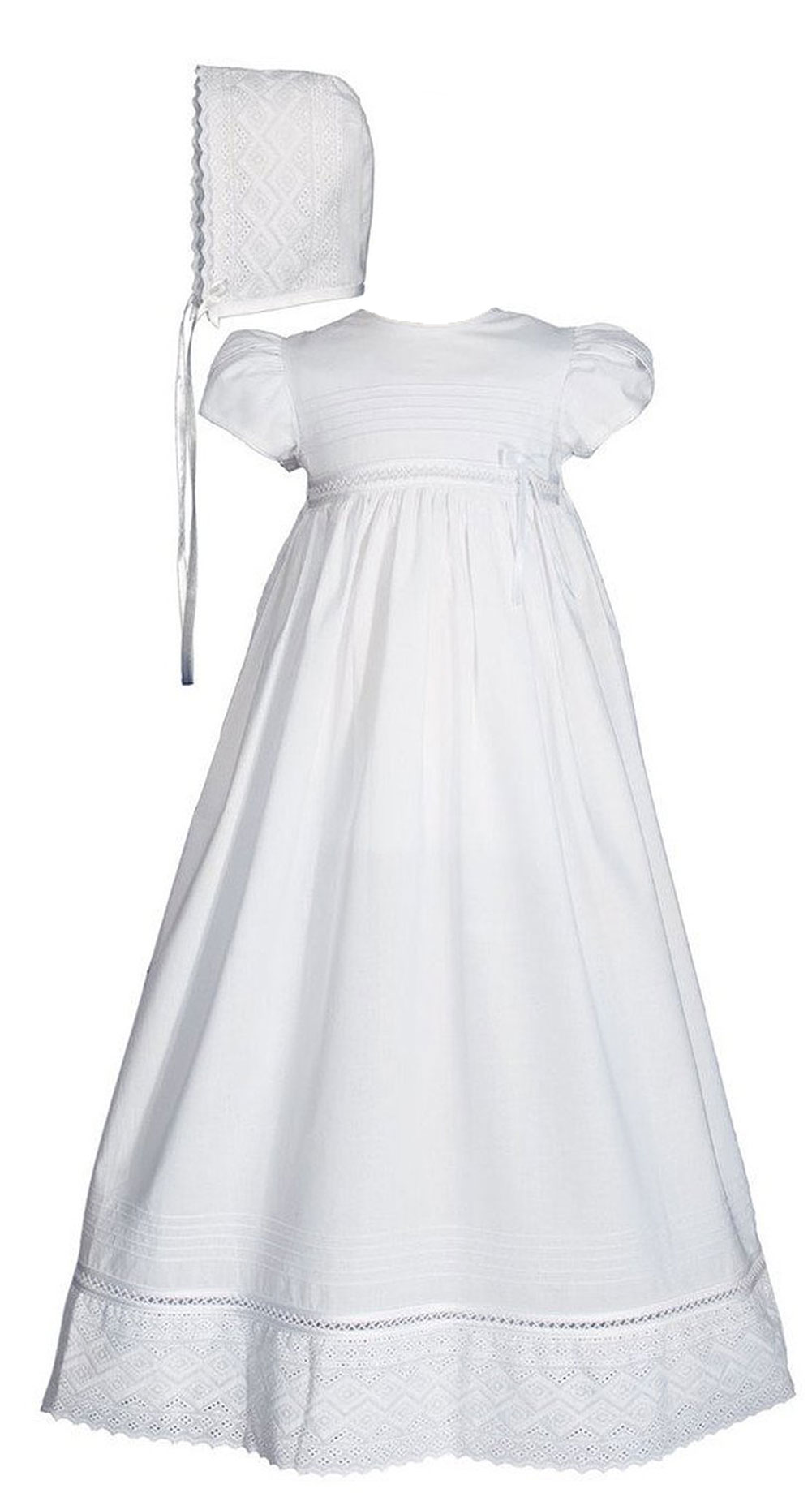 Girls 30 Quot White Cotton Dress Christening Gown Baptism Gown
