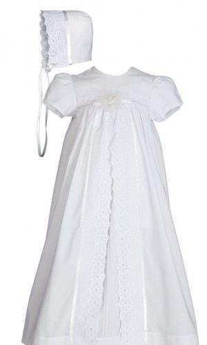 """Girls 25"""" Split Panel Cotton Dress Christening Gown Baptism Gown - Little Things Mean a Lot"""