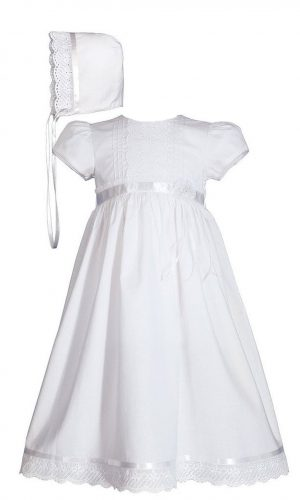 """Girls 24"""" Cotton Dress Christening Gown Baptism Gown with Lace and Ribbon - Little Things Mean a Lot"""