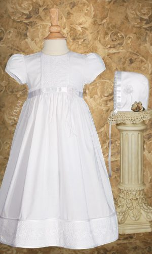 """Girls 23"""" Cotton Christening Gown with Floral Lace Detailing - Little Things Mean a Lot"""