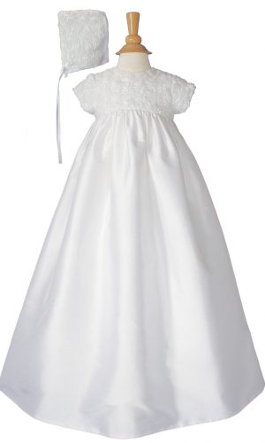 """Girls 32"""" Cotton Sateen Christening Gown with Rosette Covered Bodice - Little Things Mean a Lot"""