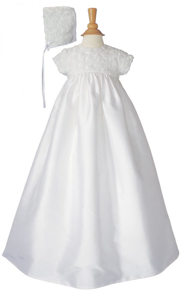 """Girls 32"""" Cotton Sateen Christening Gown with Rosette Covered Bodice"""