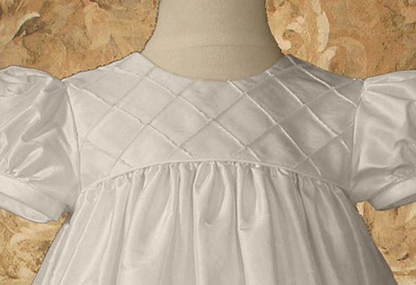 "Girls 26"" Silk Dupioni Dress Baptism Gown with Lattice Bodice"