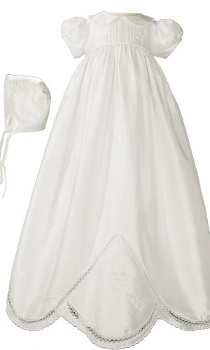 """Girls 33"""" White Silk Dupioni Christening Baptism Gown with Hand Embroidery"""