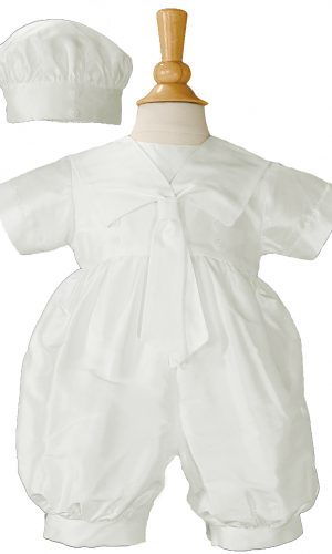 Boys Silk Christening Baptism One Piece Romper with Sailor Collar and Hat - Little Things Mean a Lot