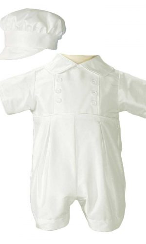 Boys Silk Christening Outfit Christening Baptism Romper with Hat - Little Things Mean a Lot