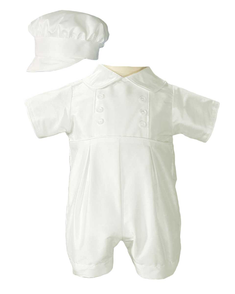 60fcef7b0 Boys Silk Christening Outfit Christening Baptism Romper with Hat ...