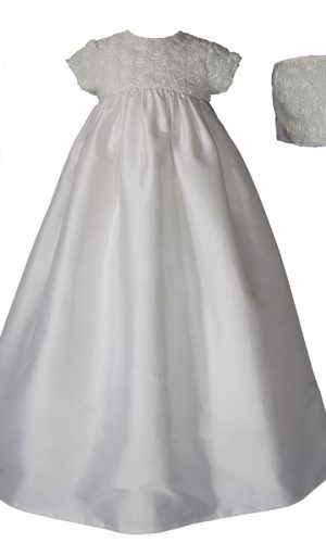 """Girls 32"""" Silk Dupioni Christening Gown with Rosette Bodice - Little Things Mean a Lot"""