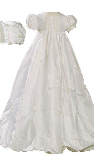 "Girls 33"" Silk Bubble Christening Baptism Gown with Natural Venise Lace and Rosettes"