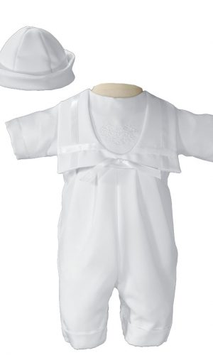 Boys White Nautical Gabardine Christening Baptism Knicker with Shamrock Embroidery - Little Things Mean a Lot