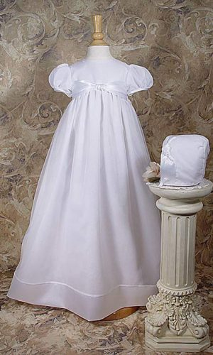 """Girls 31"""" Poly Cotton Organza Christening Gown with Bonnet and Slip - Little Things Mean a Lot"""