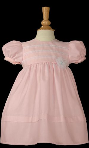 "Girls 16"" Pink Organza Overlay Christening Gown with Pin Tucking"