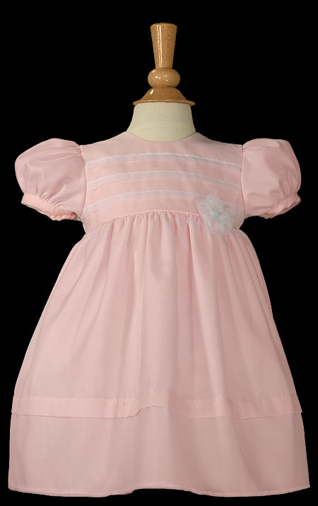 """Girls 16"""" Pink Organza Overlay Christening Gown with Pin Tucking - Little Things Mean a Lot"""