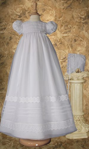 """Girls 34"""" Poly Cotton Organza Christening Gown with French Lace and Pin Tucking - Little Things Mean a Lot"""