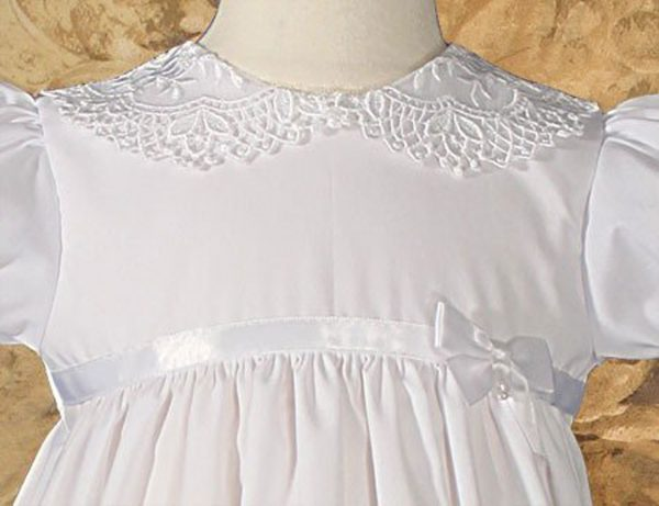 """Girls 24"""" Poly Cotton Christening Baptism Gown with Lace Collar and Hem - Little Things Mean a Lot"""
